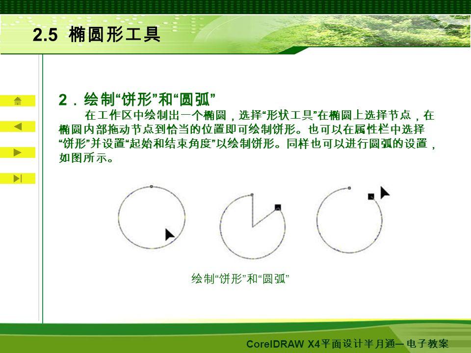 CorelDRAW X4 平面设计半月通 ─ 电子教案 2.5 椭圆形工具 2 .绘制 饼形 和 圆弧 在工作区中绘制出一个椭圆,选择 形状工具 在椭圆上选择节点,在 椭圆内部拖动节点到恰当的位置即可绘制饼形。也可以在属性栏中选择 饼形 并设置 起始和结束角度 以绘制饼形。同样也可以进行圆弧的设置, 如图所示。 绘制 饼形 和 圆弧