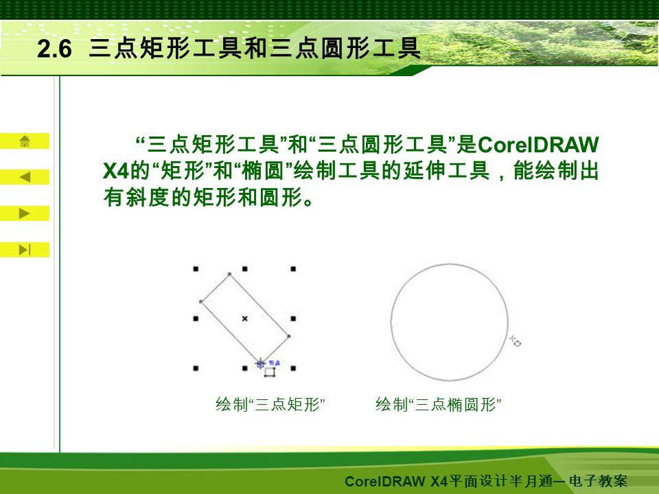 CorelDRAW X4 平面设计半月通 ─ 电子教案 2.6 三点矩形工具和三点圆形工具 三点矩形工具 和 三点圆形工具 是 CorelDRAW X4 的 矩形 和 椭圆 绘制工具的延伸工具,能绘制出 有斜度的矩形和圆形。 绘制 三点矩形 绘制 三点椭圆形