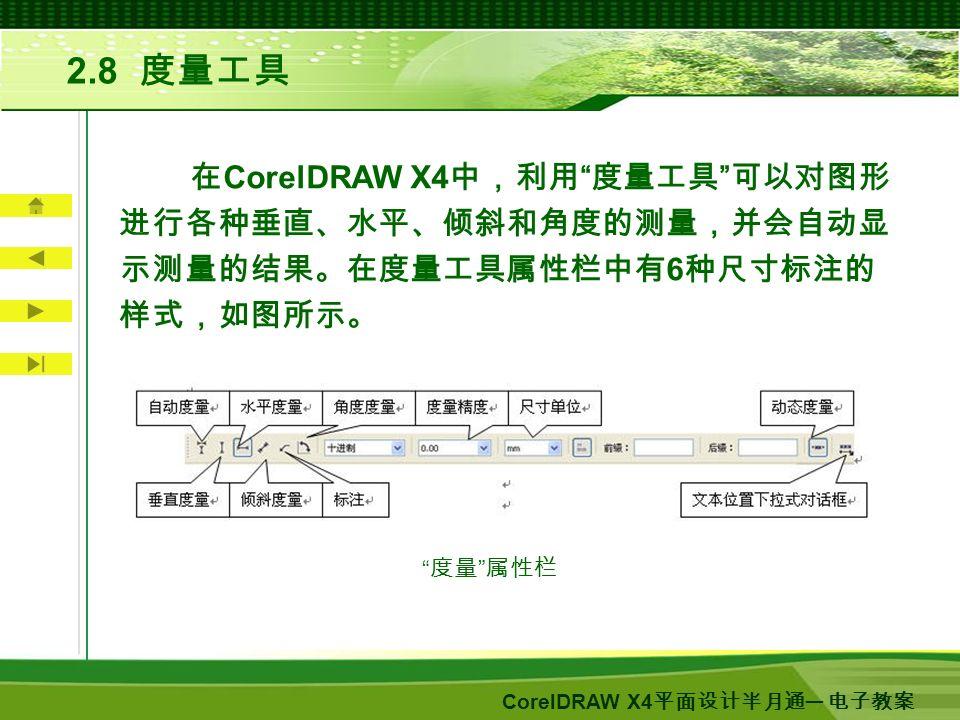 CorelDRAW X4 平面设计半月通 ─ 电子教案 2.8 度量工具 在 CorelDRAW X4 中,利用 度量工具 可以对图形 进行各种垂直、水平、倾斜和角度的测量,并会自动显 示测量的结果。在度量工具属性栏中有 6 种尺寸标注的 样式,如图所示。 度量 属性栏