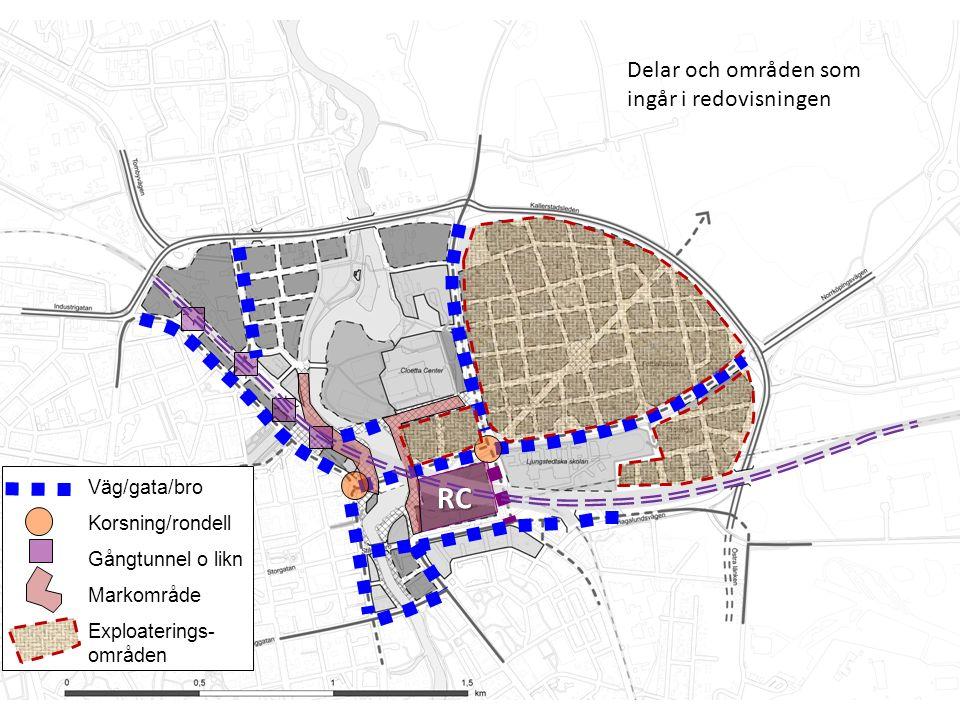 Innan (2014 – 2020) Väg/gata/bro Korsning/rondell Gångtunnel o likn Markområde Exploaterings- områden Delar och områden som ingår i redovisningen RC