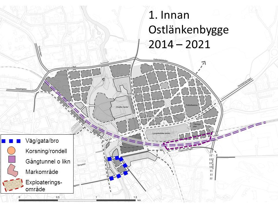 Innan (2014 – 2020) Väg/gata/bro Korsning/rondell Gångtunnel o likn Markområde Exploaterings- område 2.