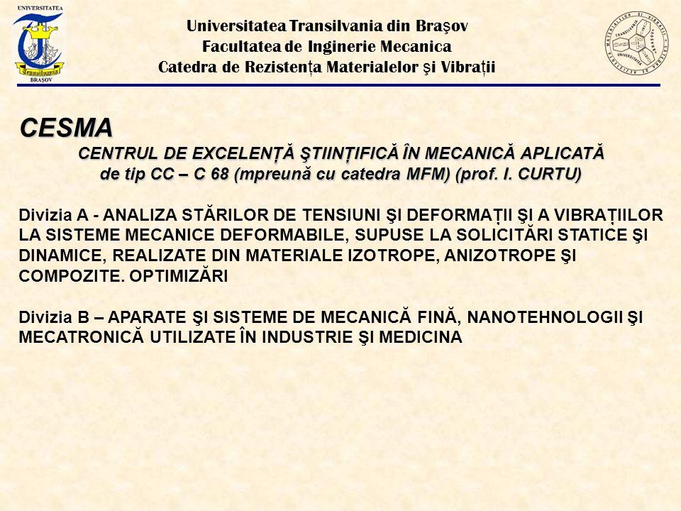 CESMA CENTRUL DE EXCELENŢĂ ŞTIINŢIFICĂ ÎN MECANICĂ APLICATĂ de tip CC – C 68 (mpreună cu catedra MFM) (prof.