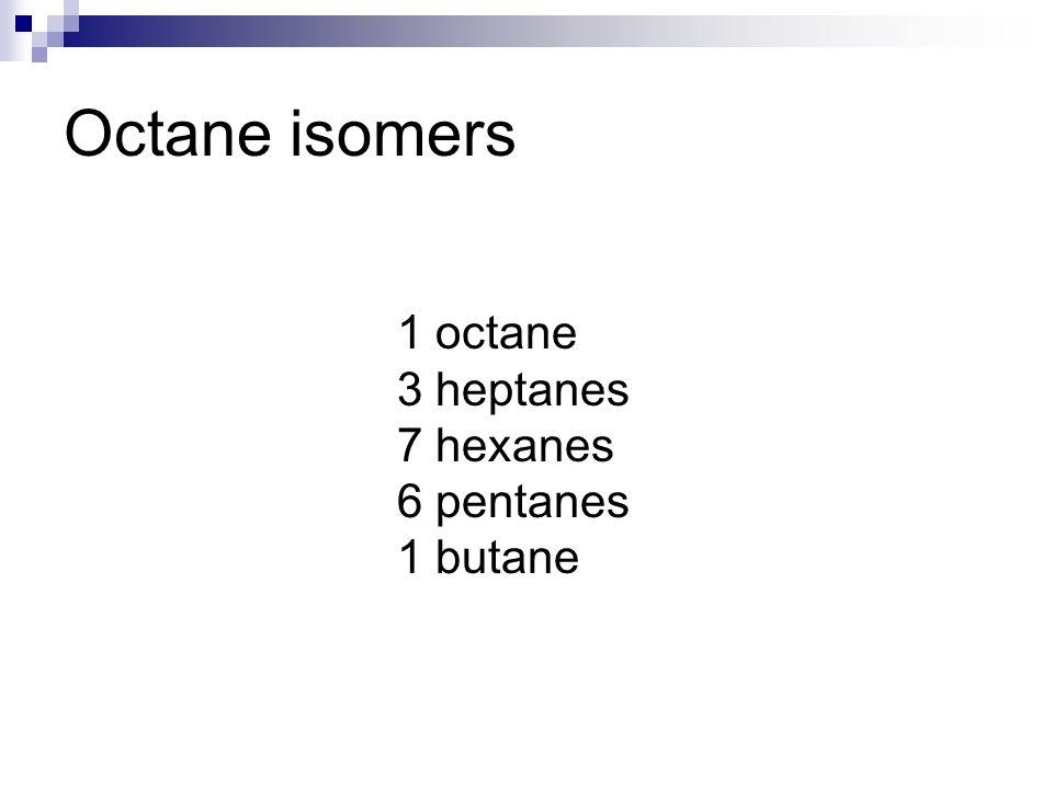 Octane isomers 1 octane 3 heptanes 7 hexanes 6 pentanes 1 butane