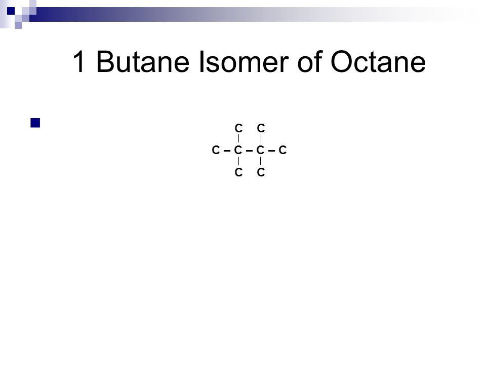 1 Butane Isomer of Octane C – C – C – C C CH 3 C(CH 3 ) 2 C(CH 3 ) 2 CH 3 2,2,3,3-tetramethyl-butane
