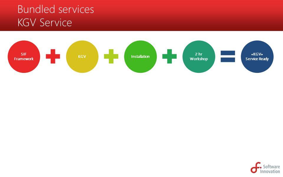 SIF Framework KGVInstallation 2 hr Workshop «KGV» Service Ready Bundled services KGV Service