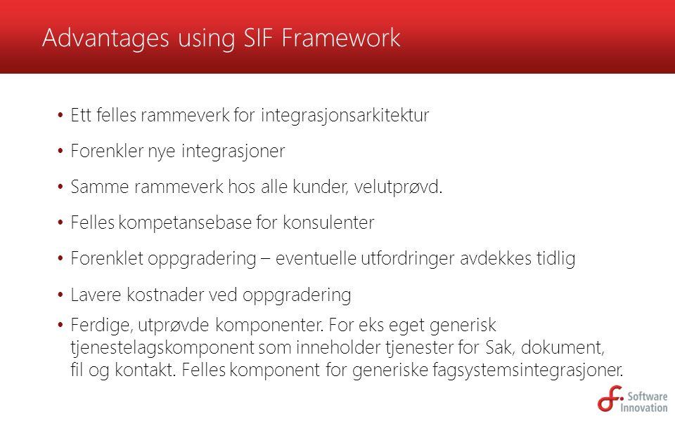 Ett felles rammeverk for integrasjonsarkitektur Forenkler nye integrasjoner Samme rammeverk hos alle kunder, velutprøvd. Felles kompetansebase for kon