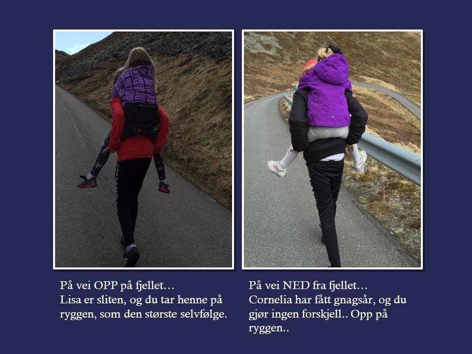 På vei OPP på fjellet… Lisa er sliten, og du tar henne på ryggen, som den største selvfølge.