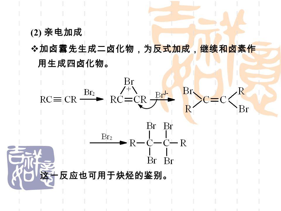 (2) 亲电加成  加卤素: 首先生成二卤化物,为反式加成,继续和卤素作 用生成四卤化物。 这一反应也可用于炔烃的鉴别。