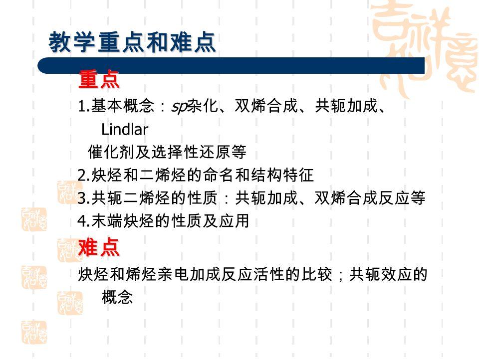 教学重点和难点 重点 1. 基本概念: sp 杂化、双烯合成、共轭加成、 Lindlar 催化剂及选择性还原等 2.