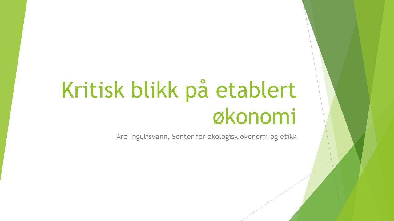 Kritisk blikk på etablert økonomi Are Ingulfsvann, Senter for økologisk økonomi og etikk