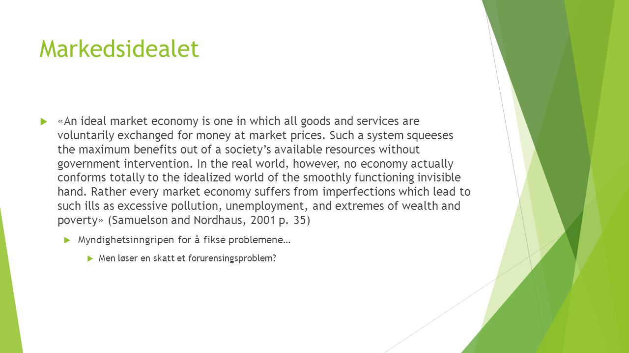 Markedsidealet  «An ideal market economy is one in which all goods and services are voluntarily exchanged for money at market prices.