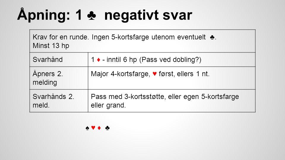 Åpning: 1 ♣ negativt svar Krav for en runde. Ingen 5-kortsfarge utenom eventuelt ♣.
