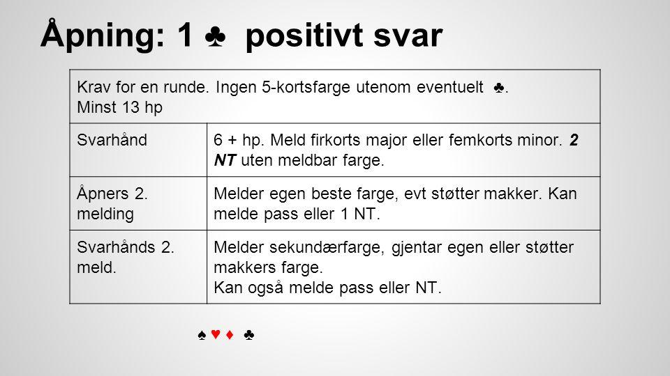Åpning: 1 ♣ positivt svar Krav for en runde. Ingen 5-kortsfarge utenom eventuelt ♣.
