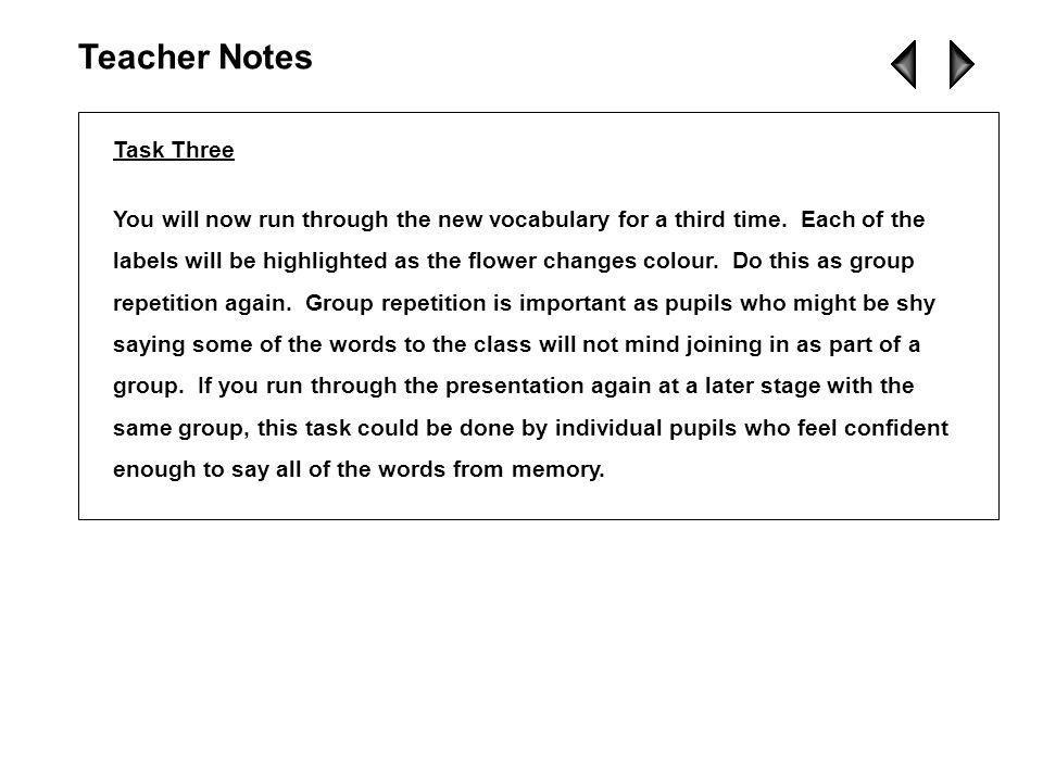 Task Two You are now giving the pupils more practice of the vocabulary you have introduced.
