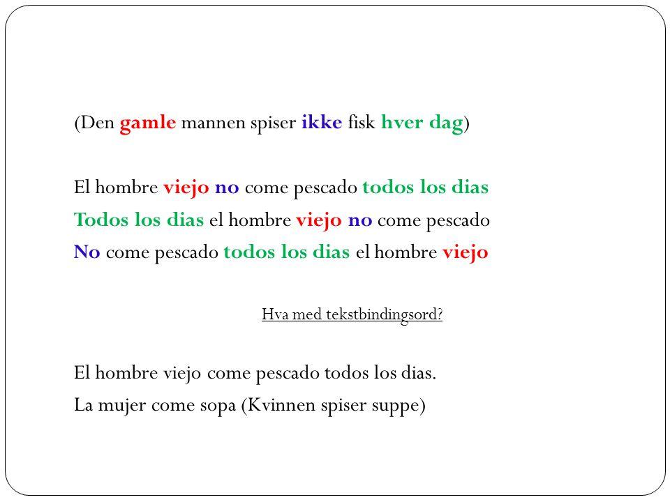 Det er faste regler for plasseringen av nektelse, adjektiv, artikkel og preposisjoner: Verb I praksis kan verbet plasseres hvor som helst i setningen.