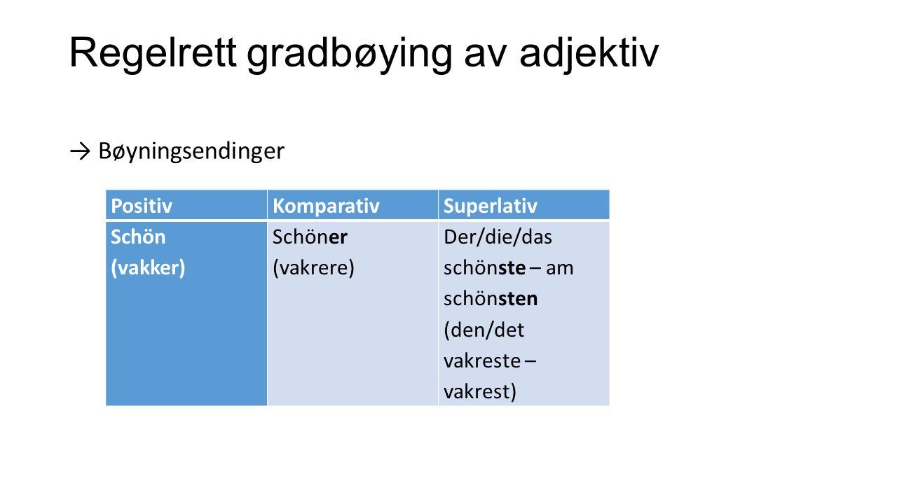 Regelrett gradbøying av adjektiv → Bøyningsendinger PositivKomparativSuperlativ Schön (vakker) Schöner (vakrere) Der/die/das schönste – am schönsten (
