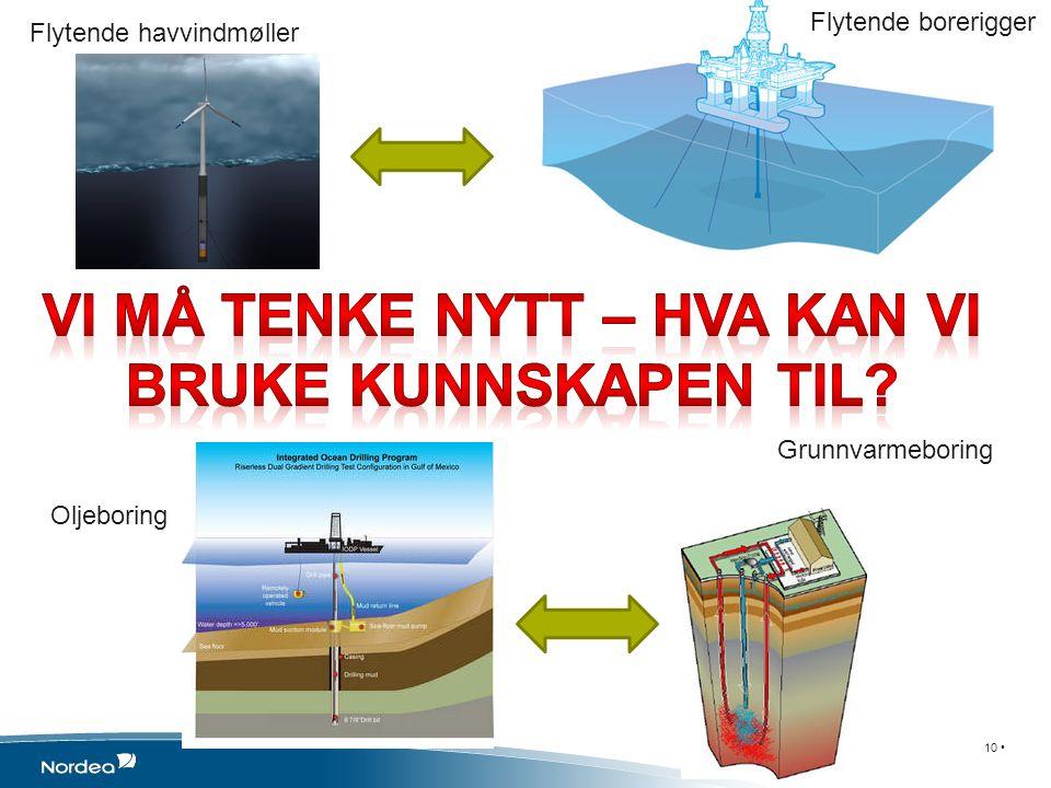 10 Flytende havvindmøller Flytende borerigger Grunnvarmeboring Oljeboring