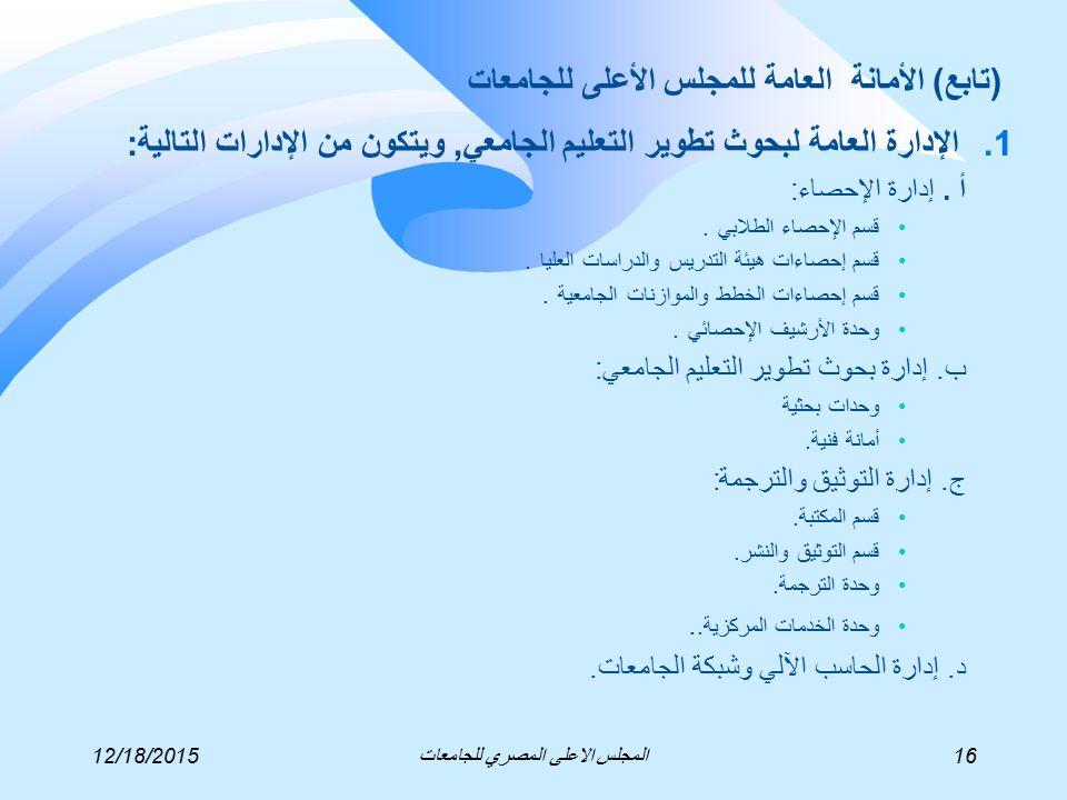 1.الإدارة العامة لبحوث تطوير التعليم الجامعي, ويتكون من الإدارات التالية: أ.