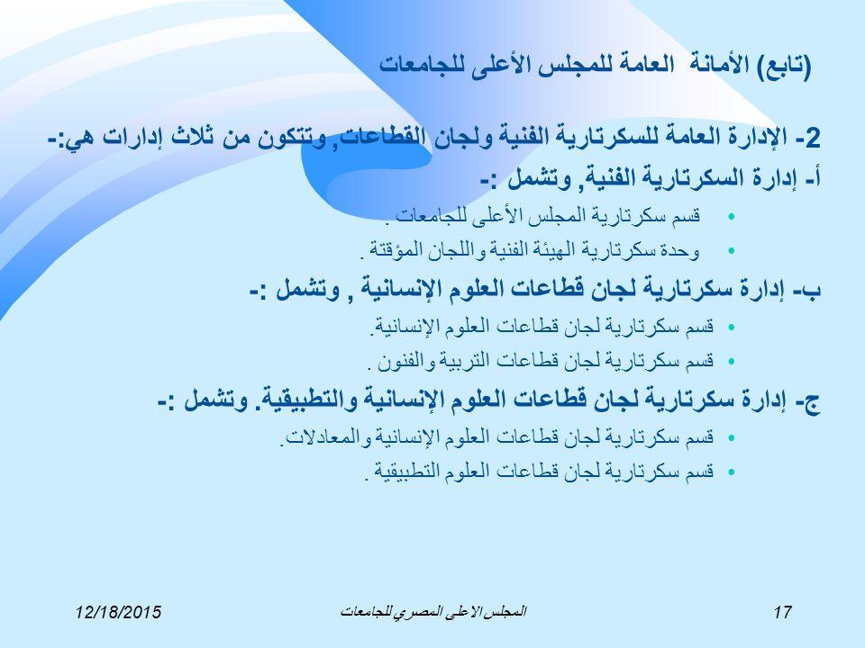 2- الإدارة العامة للسكرتارية الفنية ولجان القطاعات, وتتكون من ثلاث إدارات هي:- أ- إدارة السكرتارية الفنية, وتشمل :- قسم سكرتارية المجلس الأعلى للجامعات.