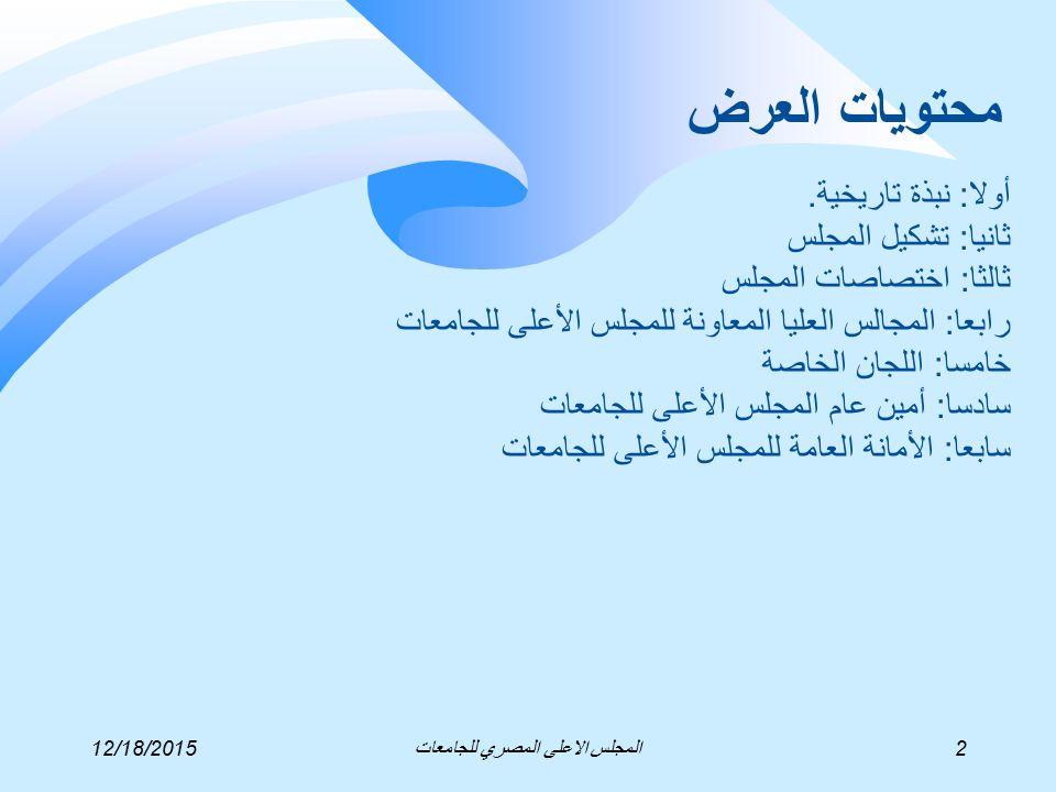 الهيكل التنظيمي لأمانة المجلس الأعلى للجامعات 12/18/2015مركز نظم معلومات الادارة ودعم اتخاذ القرار13