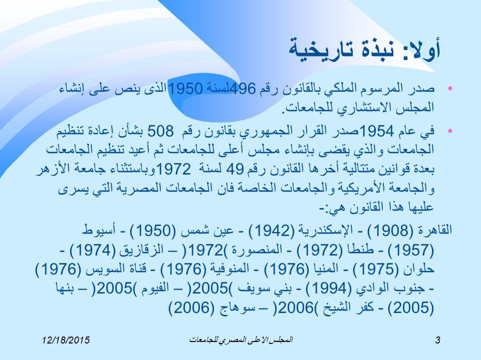 12/18/20153المجلس الاعلى المصري للجامعات أولا: نبذة تاريخية صدر المرسوم الملكي بالقانون رقم 496لسنة 1950الذى ينص على إنشاء المجلس الاستشاري للجامعات.