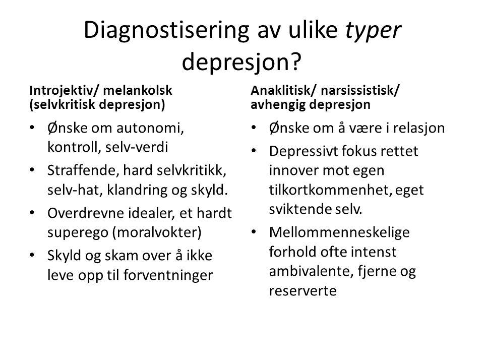 Diagnostisering av ulike typer depresjon.