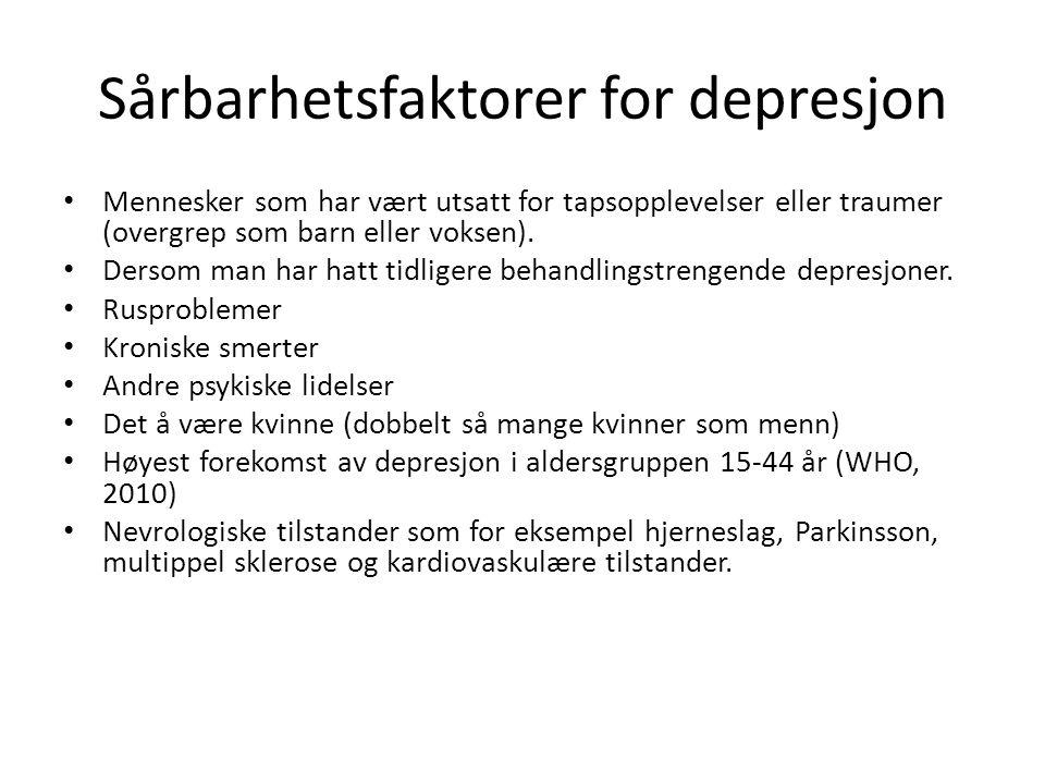 Gener og biologi Risiko for depresjon hos mennesker som har nær slektning som er deprimert er estimert å være 2- 3 ganger høyere.