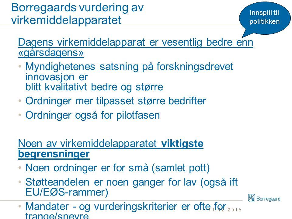 Borregaards vurdering av virkemiddelapparatet Dagens virkemiddelapparat er vesentlig bedre enn «gårsdagens» Myndighetenes satsning på forskningsdrevet