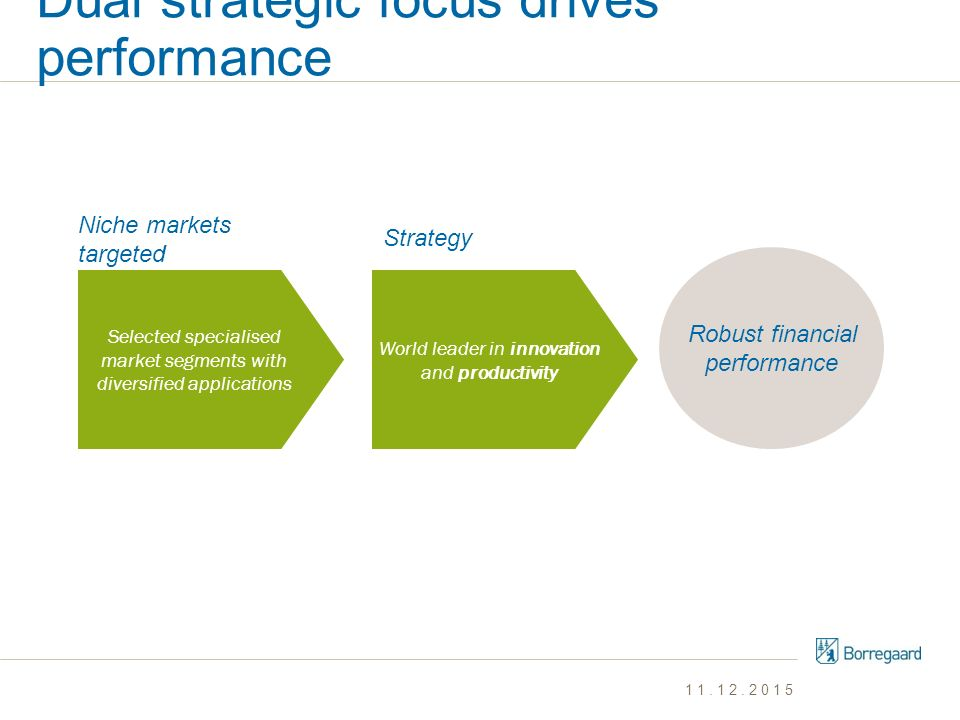 Dual strategic focus drives performance Robust financial performance Niche markets targeted Strategy Selected specialised market segments with diversi