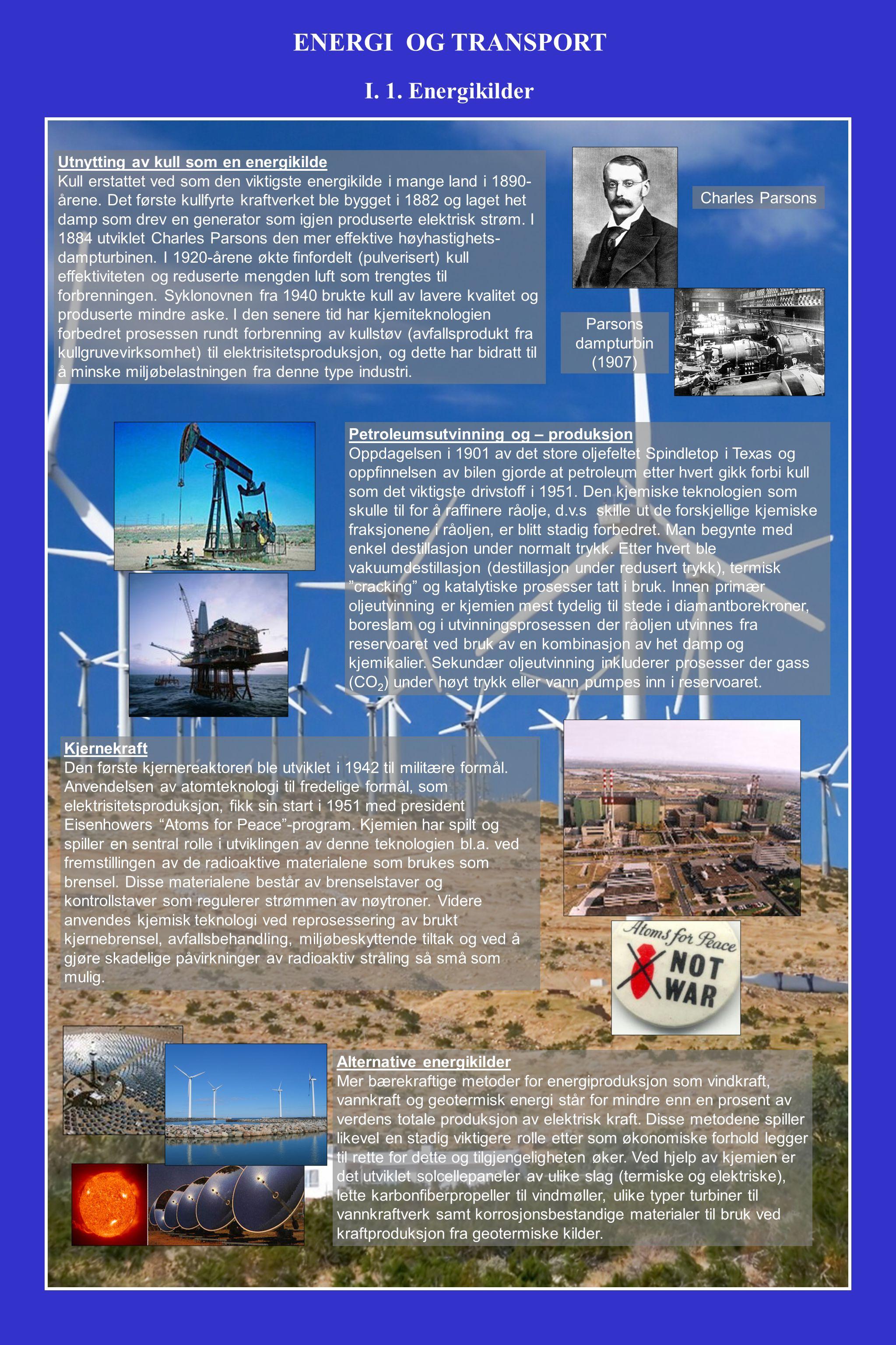 Utnytting av kull som en energikilde Kull erstattet ved som den viktigste energikilde i mange land i 1890- årene.