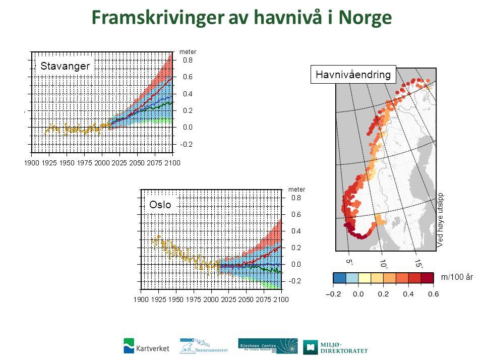 Stavanger meter Oslo meter RCP8.5 m/100 yr ∆RSL 5.