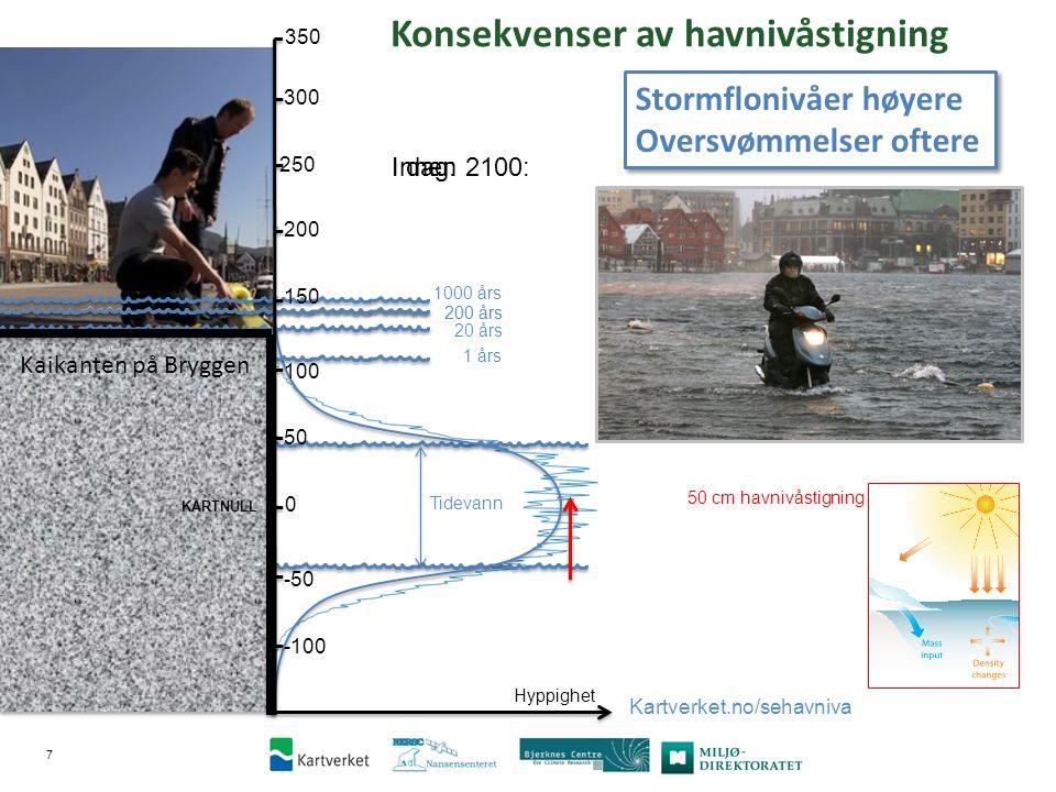 8 200-års stormflonivå kan overstiges i … 1 40 40 10 10 10 … år i dette århundret.