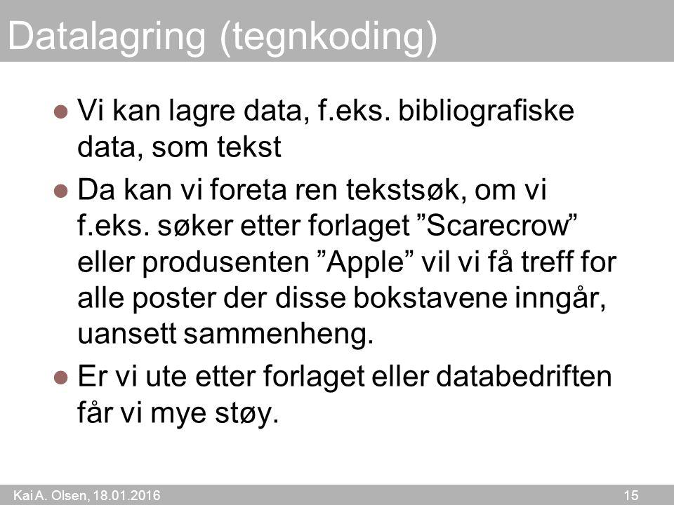 Kai A. Olsen, 18.01.2016 15 Datalagring (tegnkoding) Vi kan lagre data, f.eks.