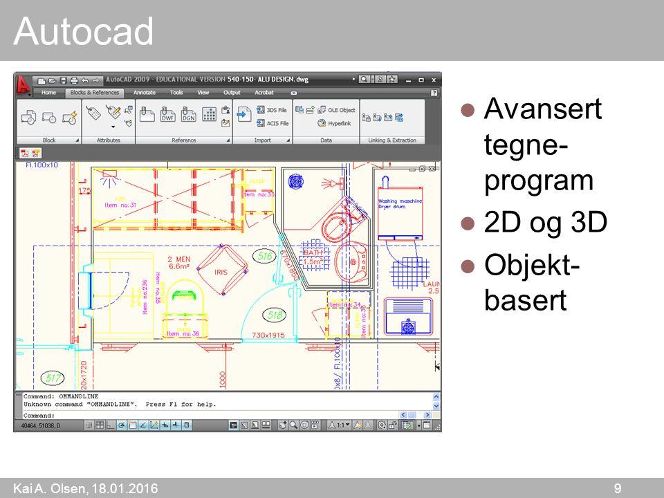 Kai A. Olsen, 18.01.2016 9 Autocad Avansert tegne- program 2D og 3D Objekt- basert