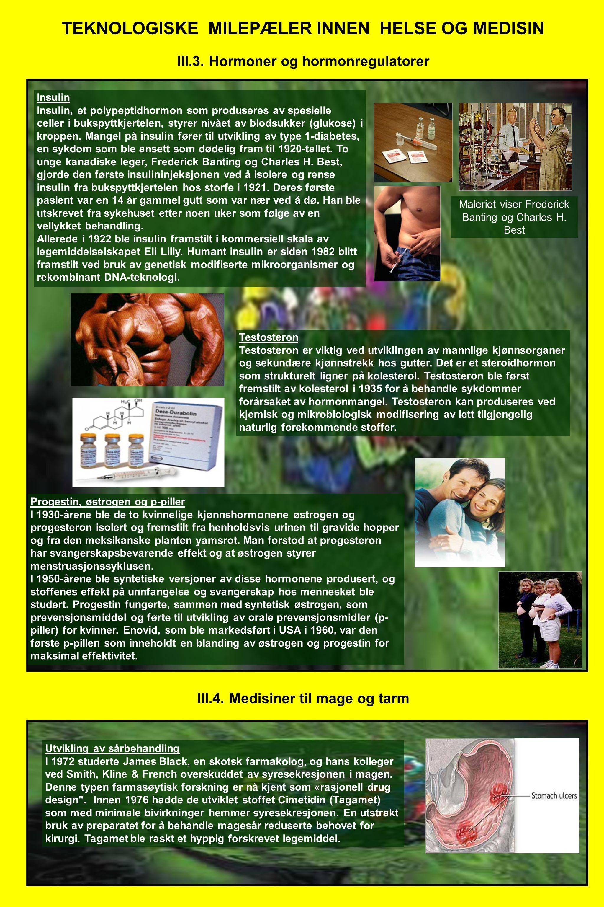 TEKNOLOGISKE MILEPÆLER INNEN HELSE OG MEDISIN III.3. Hormoner og hormonregulatorer Insulin Insulin, et polypeptidhormon som produseres av spesielle ce