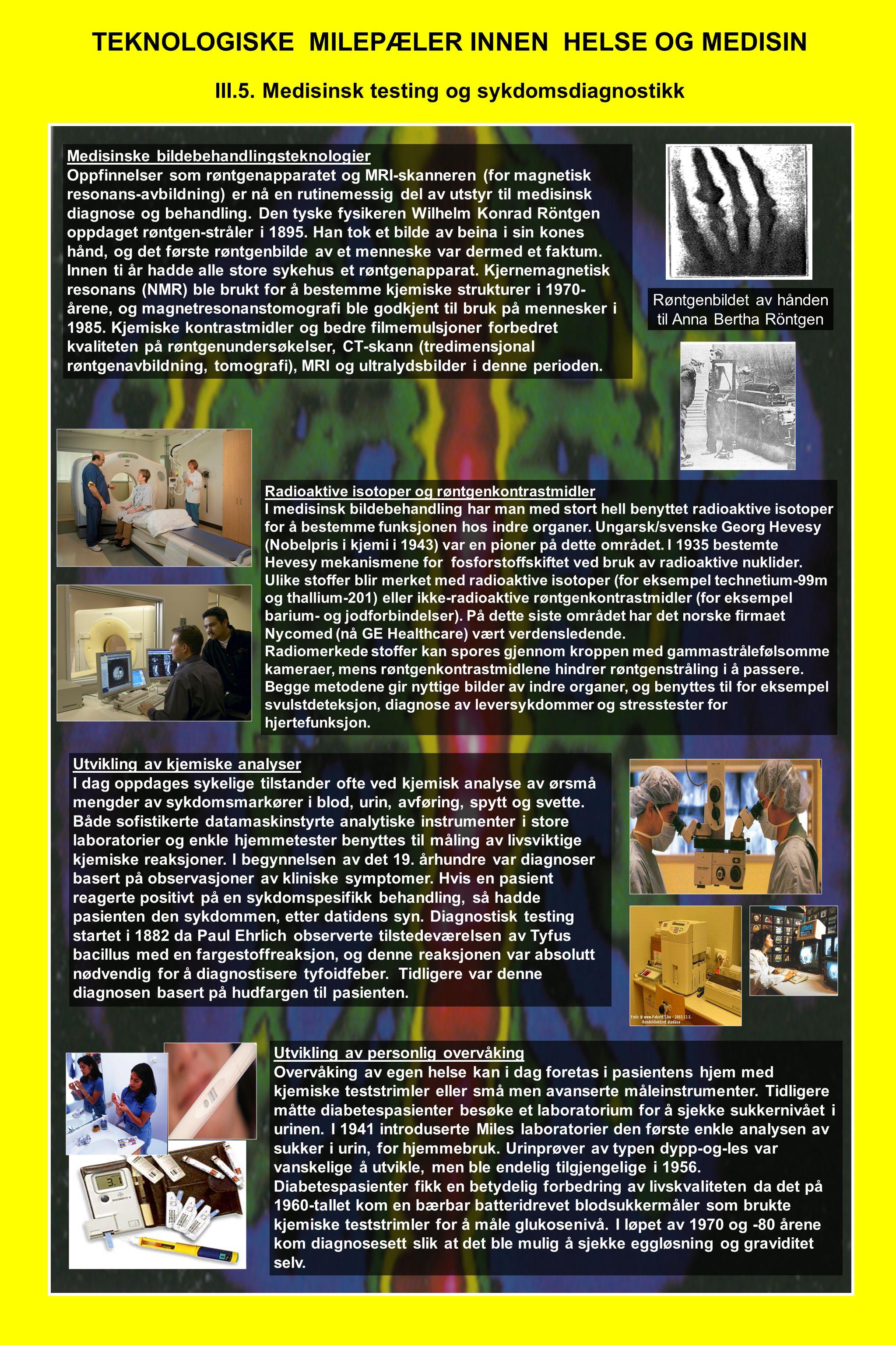 TEKNOLOGISKE MILEPÆLER INNEN HELSE OG MEDISIN III.5. Medisinsk testing og sykdomsdiagnostikk Medisinske bildebehandlingsteknologier Oppfinnelser som r