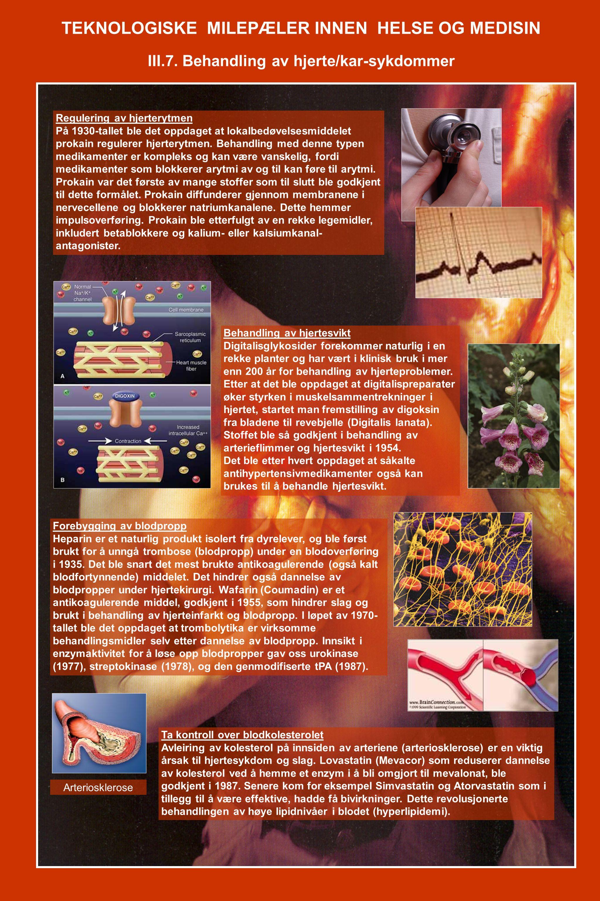 TEKNOLOGISKE MILEPÆLER INNEN HELSE OG MEDISIN III.7. Behandling av hjerte/kar-sykdommer Regulering av hjerterytmen På 1930-tallet ble det oppdaget at