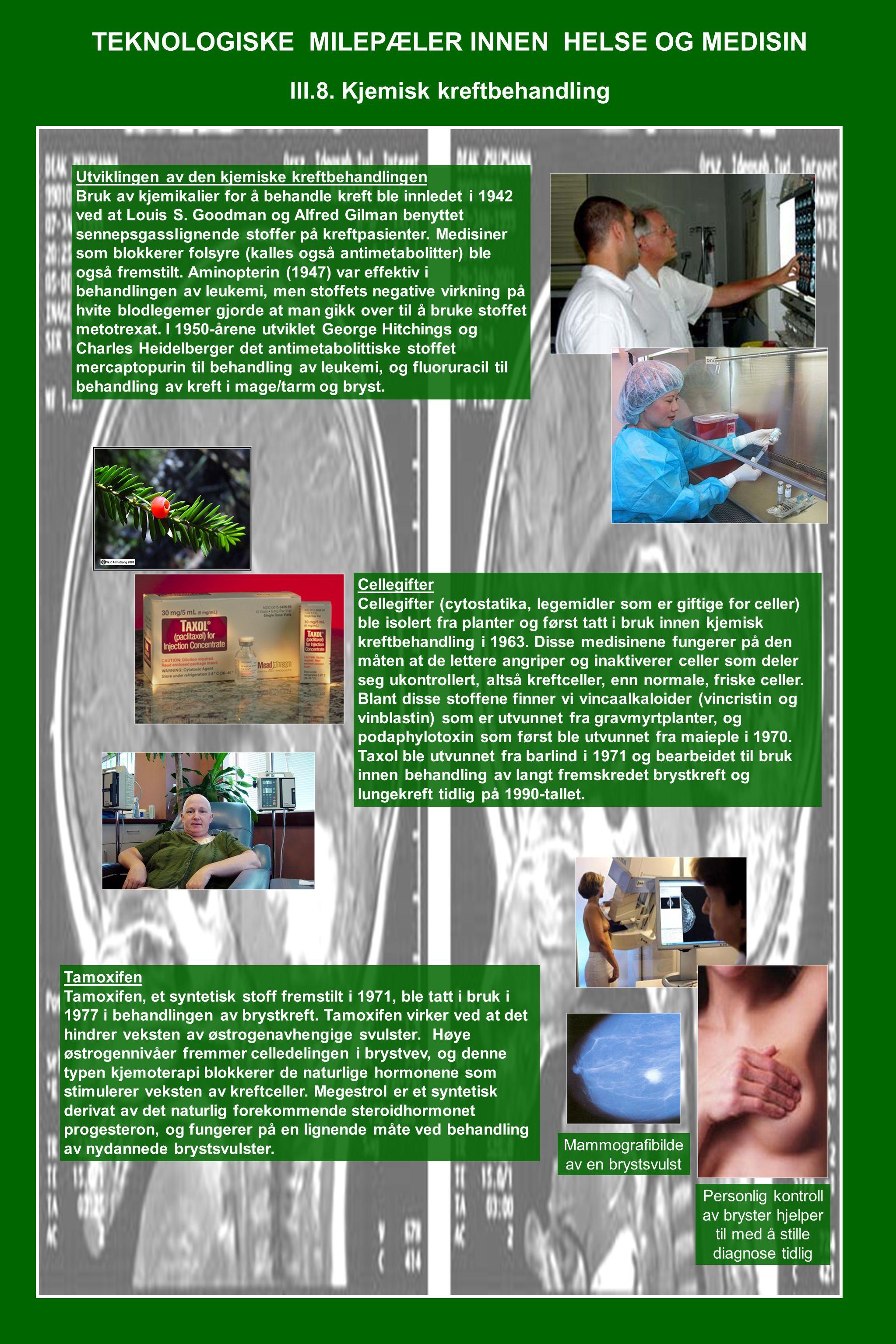 TEKNOLOGISKE MILEPÆLER INNEN HELSE OG MEDISIN III.8. Kjemisk kreftbehandling Utviklingen av den kjemiske kreftbehandlingen Bruk av kjemikalier for å b