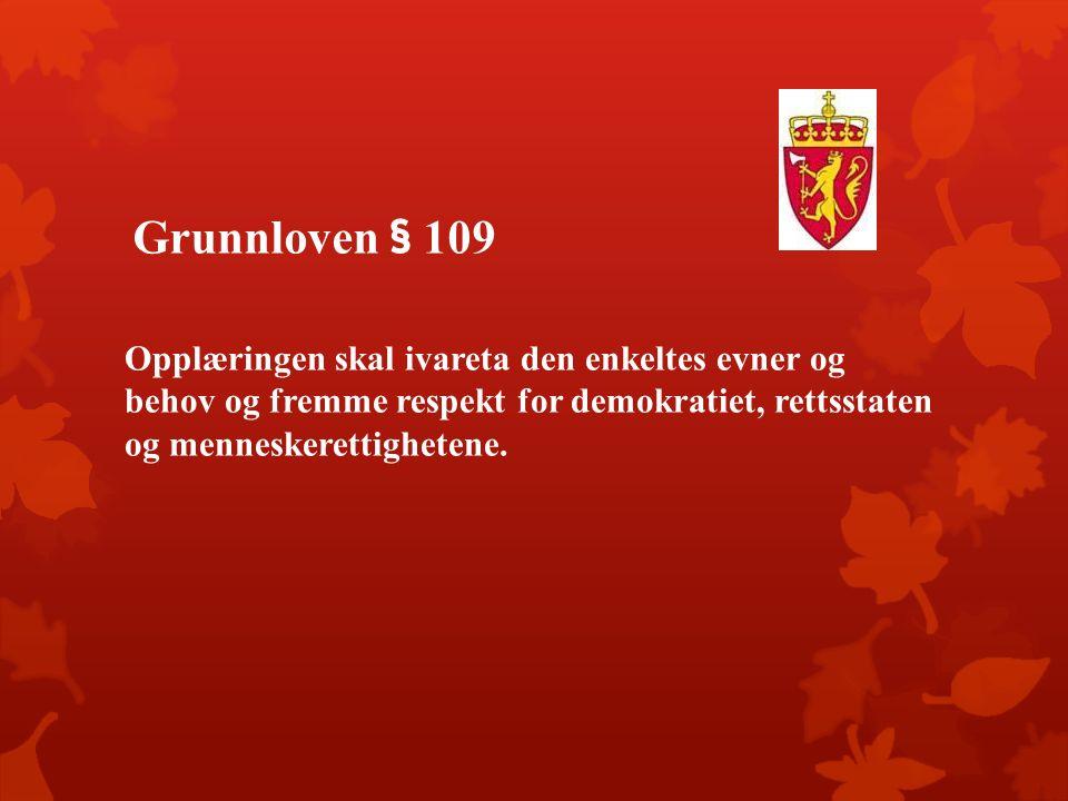 Grunnloven § 109 Opplæringen skal ivareta den enkeltes evner og behov og fremme respekt for demokratiet, rettsstaten og menneskerettighetene.