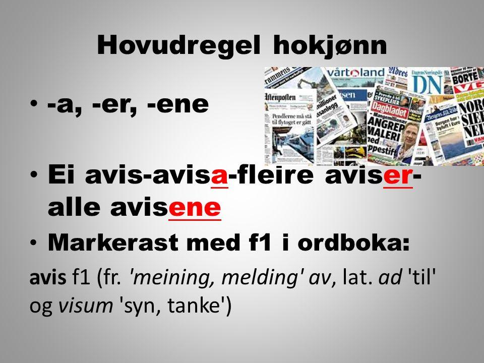 Hovudregel hokjønn -a, -er, -ene Ei avis-avisa-fleire aviser- alle avisene Markerast med f1 i ordboka: avis f1 (fr. 'meining, melding' av, lat. ad 'ti