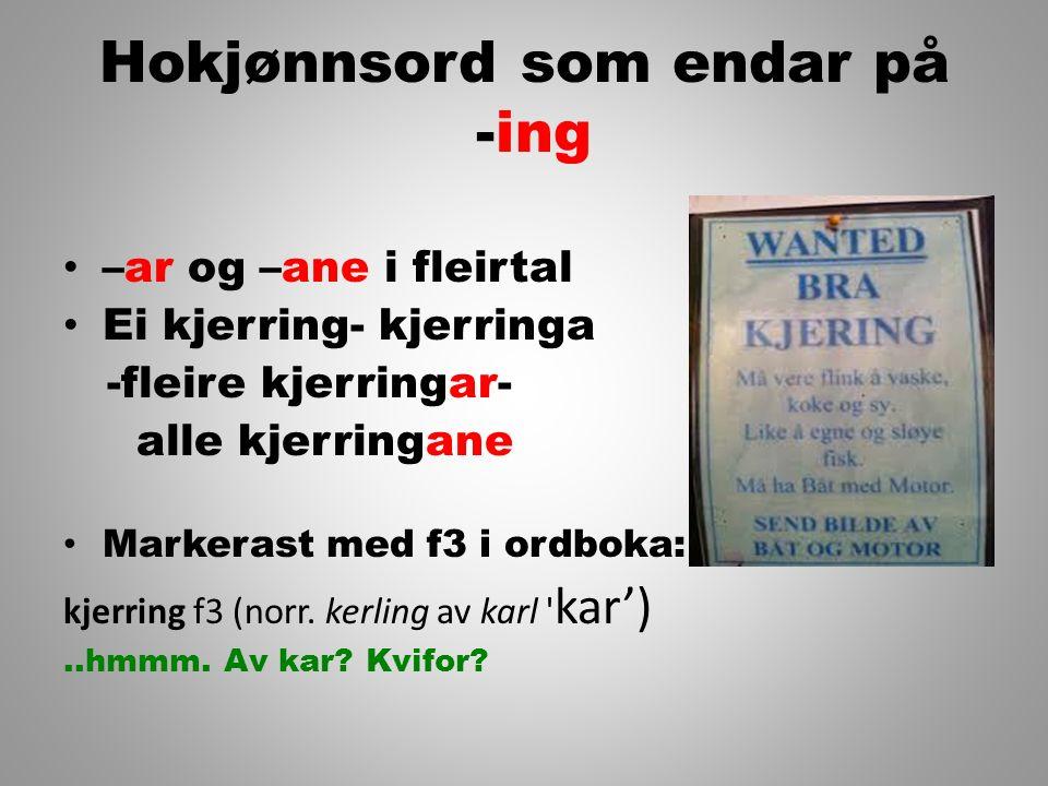 Hokjønnsord som endar på -ing –ar og –ane i fleirtal Ei kjerring- kjerringa -fleire kjerringar- alle kjerringane Markerast med f3 i ordboka: kjerring