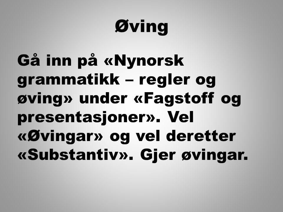 Øving Gå inn på «Nynorsk grammatikk – regler og øving» under «Fagstoff og presentasjoner». Vel «Øvingar» og vel deretter «Substantiv». Gjer øvingar.