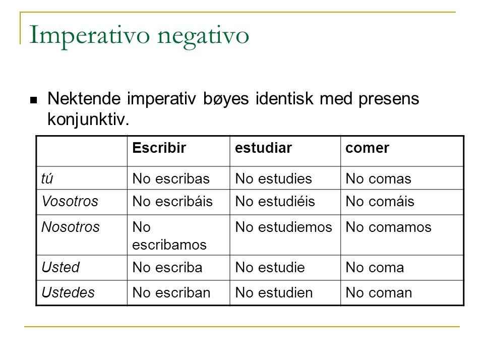 Imperativo negativo Nektende imperativ bøyes identisk med presens konjunktiv. Escribirestudiarcomer túNo escribasNo estudiesNo comas VosotrosNo escrib