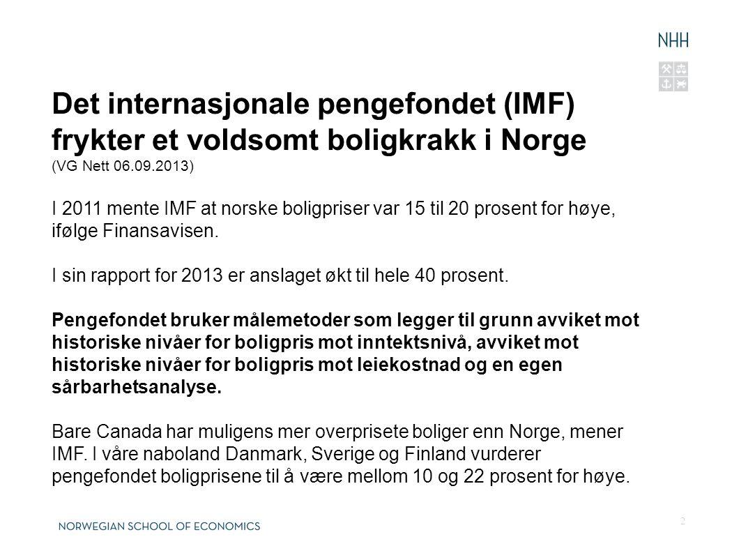 2 Det internasjonale pengefondet (IMF) frykter et voldsomt boligkrakk i Norge (VG Nett 06.09.2013) I 2011 mente IMF at norske boligpriser var 15 til 20 prosent for høye, ifølge Finansavisen.