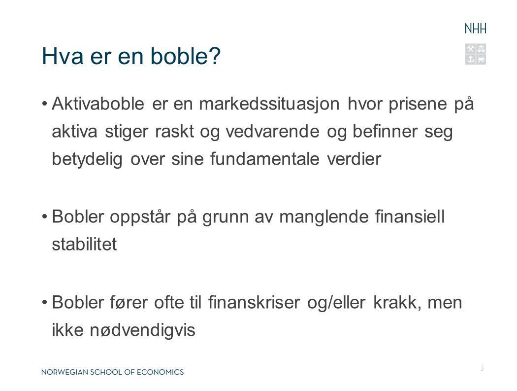 Hva er en boble? Aktivaboble er en markedssituasjon hvor prisene på aktiva stiger raskt og vedvarende og befinner seg betydelig over sine fundamentale