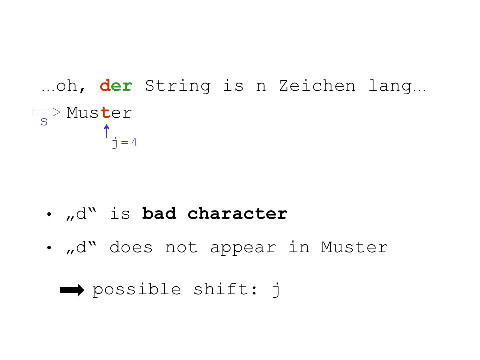 ... oh, der String is n Zeichen lang... Muster s j = 4j = 4 d is bad character d does not appear in Muster possible shift: j