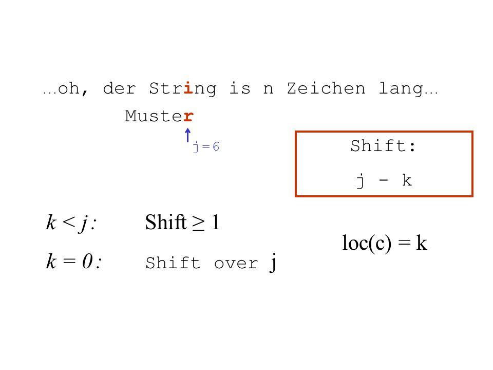 k < j :Shift 1 k = 0 : Shift over j... oh, der String is n Zeichen lang... Muster j = 6j = 6 Shift: j - k loc(c) = k