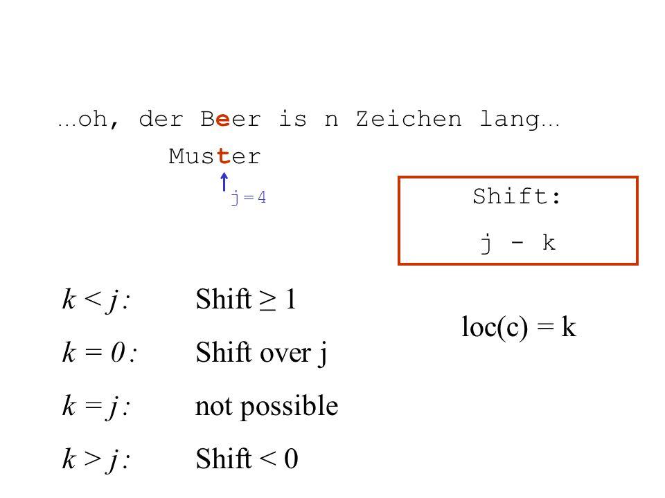 k < j :Shift 1 k = 0 :Shift over j k = j :not possible k > j :Shift < 0... oh, der Beer is n Zeichen lang... Muster Shift: j - k j = 4j = 4 loc(c) = k