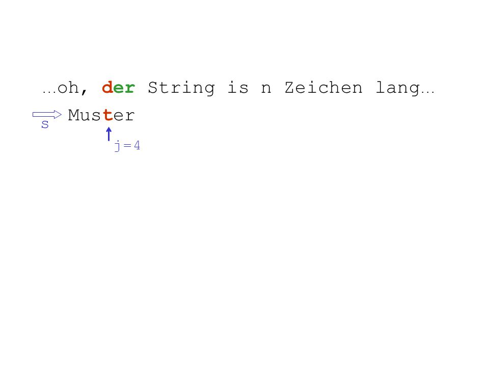 ... oh, der String is n Zeichen lang... Muster s j = 4j = 4