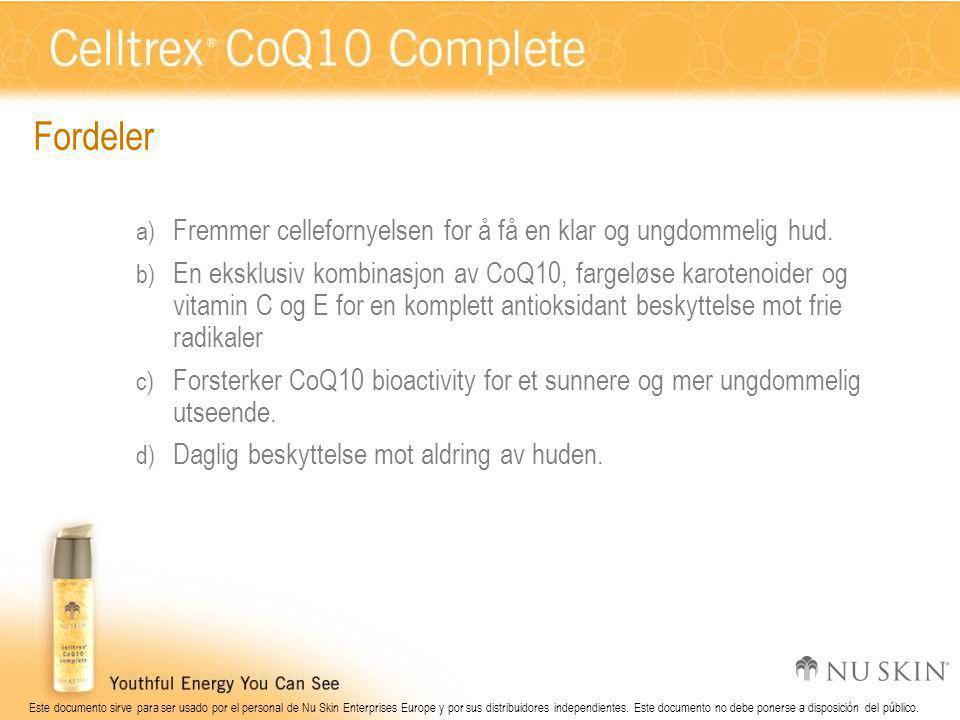 Este documento sirve para ser usado por el personal de Nu Skin Enterprises Europe y por sus distribuidores independientes.